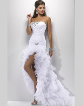 Sexy High Low Wedding Prom Gown,Wedding dresse  with Side Slit  image 3