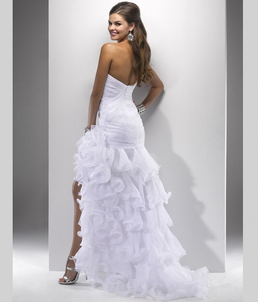 Sexy High Low Wedding Prom Gown,Wedding dresse  with Side Slit
