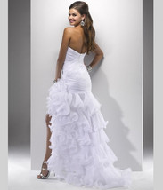 Sexy High Low Wedding Prom Gown,Wedding dresse  with Side Slit  image 4