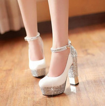 High-heeled Bling  Wedding Shoes For Women With High Platform and ankle straps - $99.99+