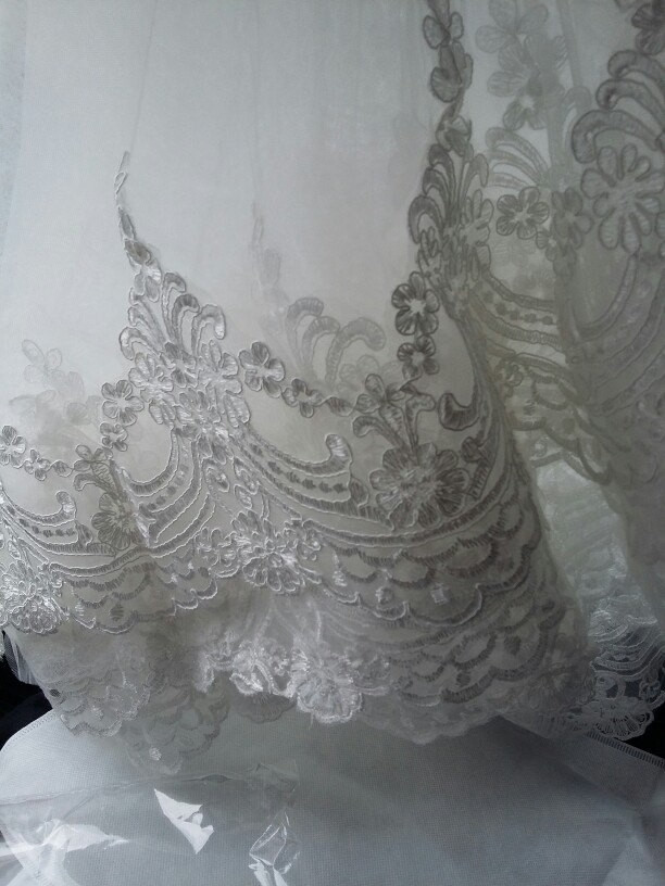 Bling Brides Lace Edge  3M White/Ivory Cathedral Length  Wedding Bridal Veil