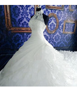 High-neck Sleeveless Sexy Wedding Dress,  Ruffled Wedding Gown Ball Gown... - $499.99