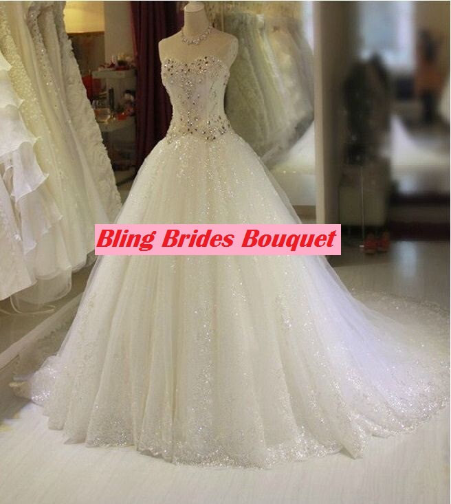 Bling Brides Crystal Wedding Dress Ball Dress With Sweetheart neck, Lace up back image 2