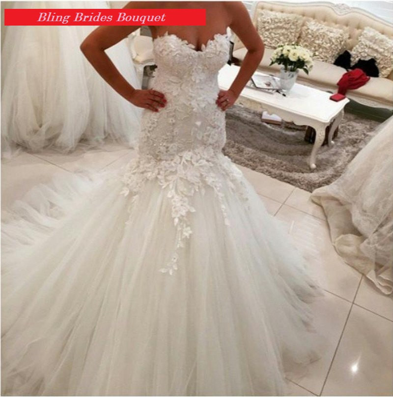 Bling Brides Lace Mermaid Wedding Dress with  Corset Back , Bridal Gown