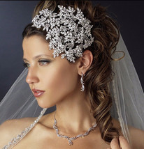 Bling Bridal Crystal headband silver Leaf Crystal Wedding Tiara Crown  - $99.99+