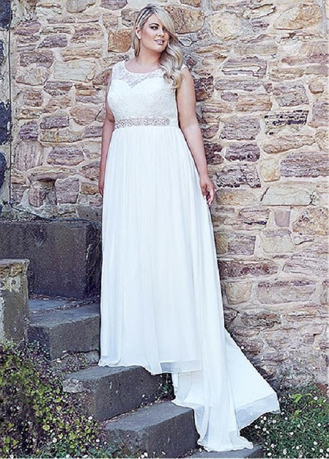 Bling brides custom made wedding dress lace chiffon plus for Plus size bling wedding dresses