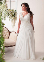 Bling Brides Elegant Wedding Dress, Chiffon Plus Size Beach Bridal Gown - $299.00+
