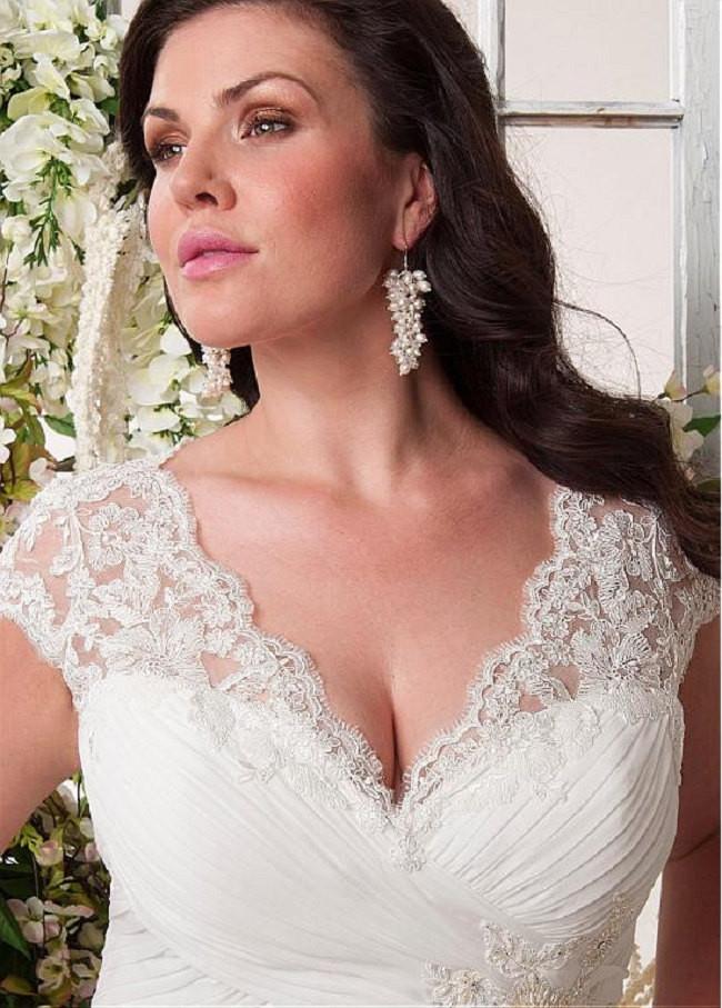 Bling Brides Elegant Wedding Dress, Chiffon Plus Size Beach Bridal Gown image 3