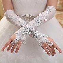 Bling Brides Elegant Gorgeous Ivory Elbow Length Lace crystal Fingerless gloves - $29.99