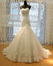 Lace  Mermaid Wedding Dress,Corset  Lace up back wedding Gown - $399.99
