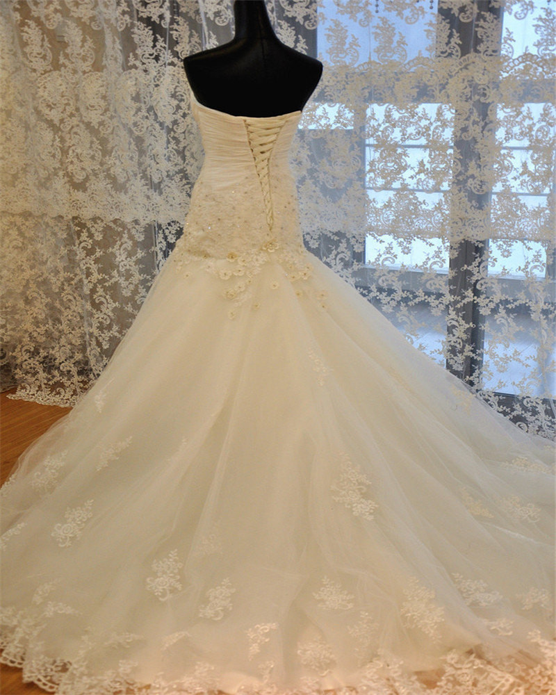 Lace  Mermaid Wedding Dress,Corset  Lace up back wedding Gown