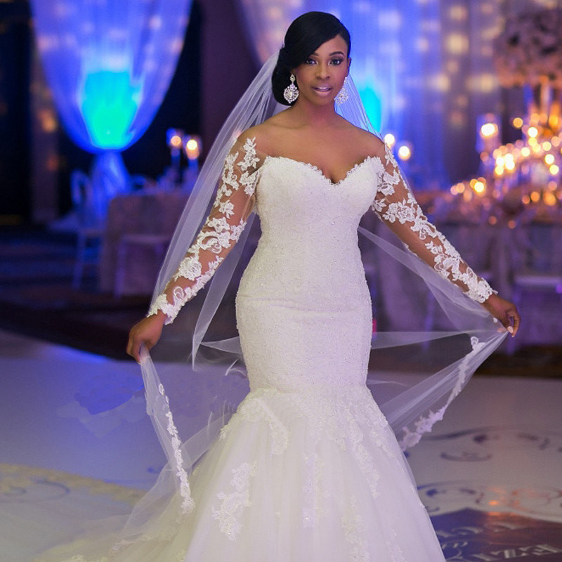 Long Sleeves Mermaid Lace Wedding Dress Off Shoulder White  Bridal Gown