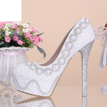 White diamond heel wedding shoes  Bridal  wedding  pumps - $129.99