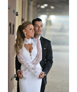 Bling Brides Long Sleeves Lace Satin Mermaid Wedding Dress With High Nec... - $399.99
