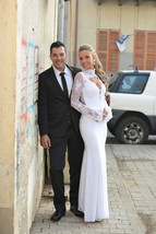 Bling Brides Long Sleeves Lace Satin Mermaid Wedding Dress With High Neck line image 2