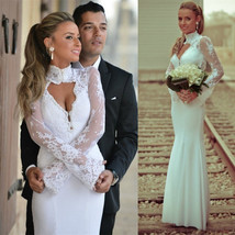 Bling Brides Long Sleeves Lace Satin Mermaid Wedding Dress With High Neck line image 3