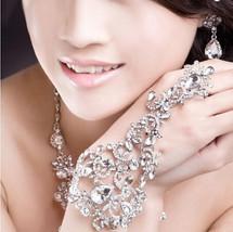 Rhinestone Floral Bridal Wrap Bracelets Wedding Jewelery  Bling hand jewels - $29.99