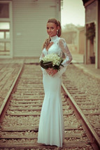 Bling Brides Long Sleeves Lace Satin Mermaid Wedding Dress With High Neck line image 4