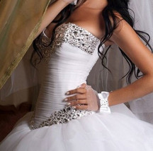 Bling Brides Tulle Ball Gown Wedding Dress With Sparkly Rhinestone Crystals - $399.99