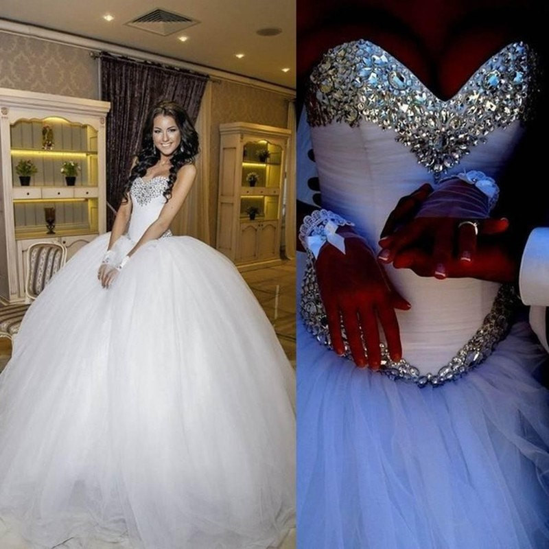 Bling Brides Tulle Ball Gown Wedding Dress With Sparkly Rhinestone Crystals