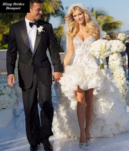 Bling Brides Elegant Sweetheart High Low Organza Short Wedding Dress - $499.99