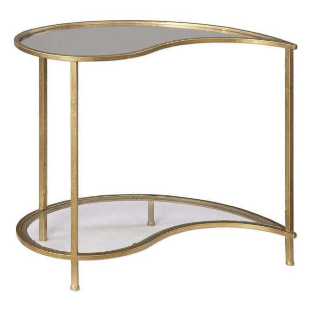 Gold Iron & Mirrored Retro Hollywood Regency Mid Century Modern Accent Table