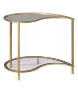Gold Iron & Mirrored Retro Hollywood Regency Mid Century Modern Accent T... - $310.69 CAD