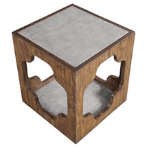 Stunning Rustic French Moroccan Faux Shagreen & Wood Accent Table, Night... - €346,55 EUR