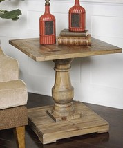"26""H Rustic French Distressed Reclaimed Salvaged Wood Pedestal End Accen... - €383,22 EUR"