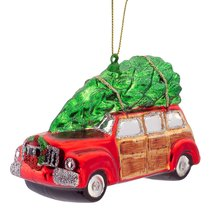 Vintage Woody Station Wagon Car with Tree on Roof Glass Ornament