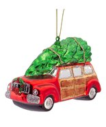 Vintage Woody Station Wagon Car with Tree on Roof Glass Ornament - $19.79