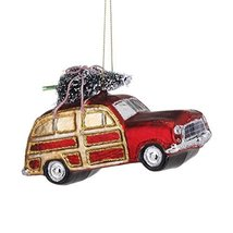 Demdaco Blown Glass Woody Station Wagon Christmas Tree Ornament Red