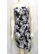 White House Black Mkt 0 Strapless Cocktail Dress Hawaii Floral Satin Sar... - $65.17
