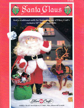 "SANTA CLAUS CROCHET FIBRE CRAFT 14""  DOLL CLOTHES & SACK 1994 PATTERNS OOP - $8.98"