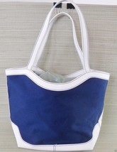 Tote Estee Lauder  Blue Canvas White Faux Leather Large Nautical Summer ... - $16.59
