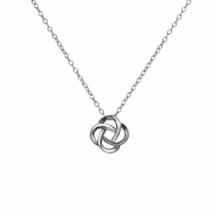 Silver Knot Pendant Necklace, 925 Sterling Silver Knotted Charm Necklace - $15.00