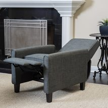 Recliner Club Chair Home Living Room Grey Office Gray Wood Fabric Furnit... - $292.17