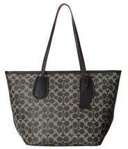 Coach Womens Saddle Signature Black Leather Large Zip Top Taxi Tote 34595 - $139.50
