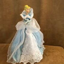 "Cinderella Princess Disney 16"" high blue dress tree topper winter outfit doll - $38.12"