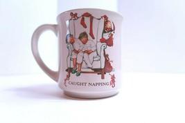"""Vintage 1987 Hallmark Norman Rockwell """"Caught Napping"""" Christmas Coffee Mug/Tea  - $7.69"""