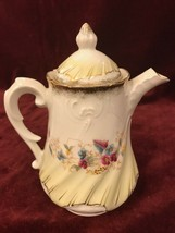 Vintage Teapot gold with flowers Mid Century decanter coffee - $13.15