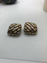 Vintage Signed Ervin Pearl Square Clip On Woven Design Earrings - $7.91