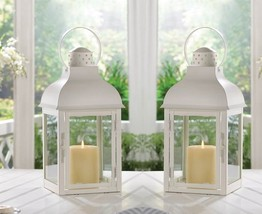 "Gable Large White Lantern 15 3/4""tall (Set of Two) Wedding Supplies 1001... - $54.00"