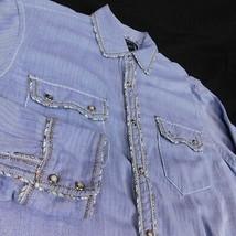 INC International Concepts Men Blue LS Western Pearl Snap Shirt Herringb... - $21.99