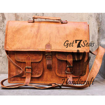 Messenger bag leather men's shoulder women laptop satchel briefcase vint... - $67.62