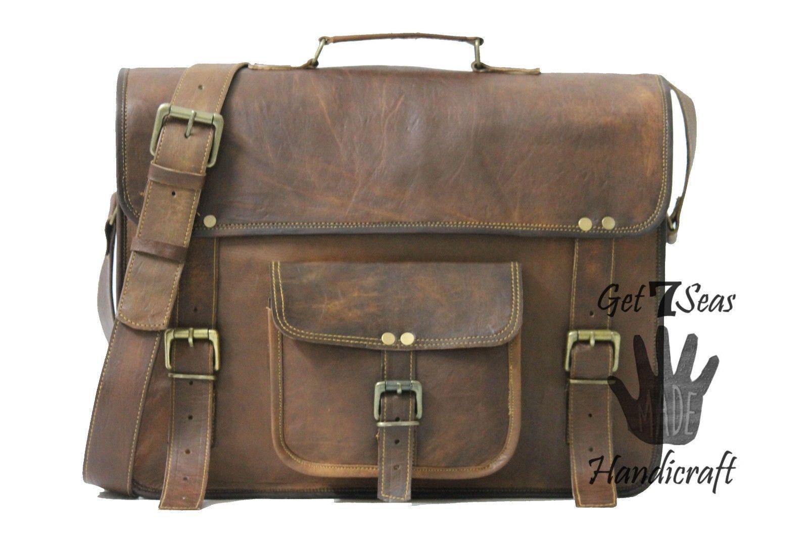 Messenger bag leather men's shoulder laptop satchel briefcase women vintage bags