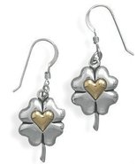 Heart of Gold Brand  Sterling Silver and 14 Karat Gold Clover with Heart... - $74.00