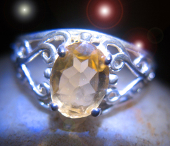 OFFERS ONLY HAUNTED RING OOAK GOLDEN PRIESTESS ANSWERS MAGICK 925 7 SCHO... - $200.00