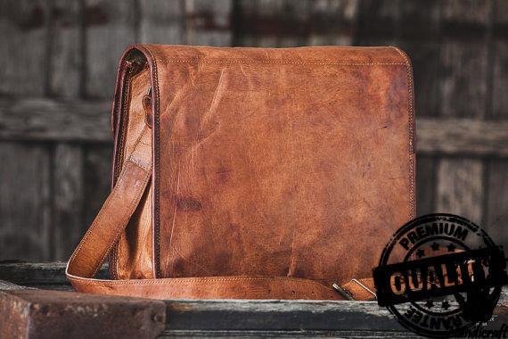 Leather computer bag men's shoulder satchel laptop women  briefcase vintage Bags