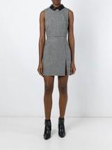 Saint Laurent Dress Leather Collar Slit Black White Houndstooth 36 $2990 NWT - $589.05